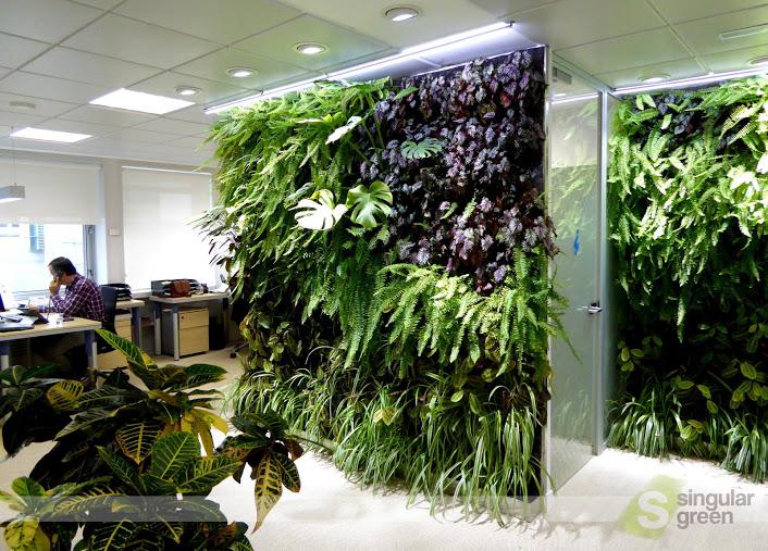 Conjunto de jardines verticales de interior para oficinas for Jardines verticales pdf
