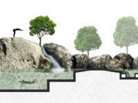 Piscina natural integrada en una pinada